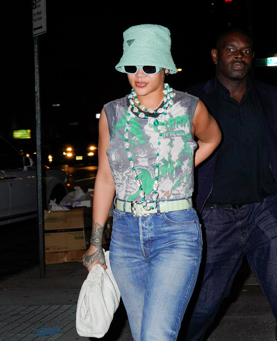 Rihanna In Casual Summer Outfit For Date Night With A$AP Rocky In NYC