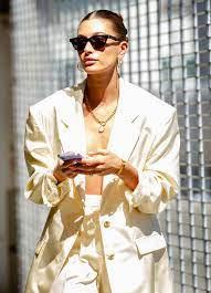 Hailey Bieber Sighted In Open Blazer And Bra Crop Top