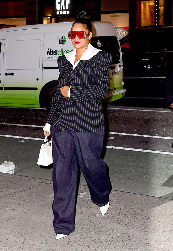 Rihanna In Trendy Baggy Trousers And Blazers