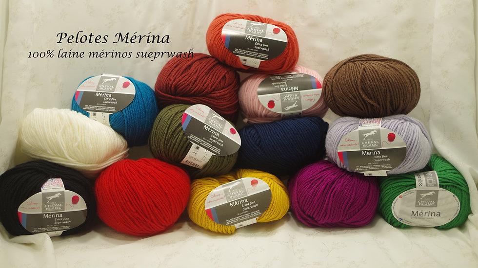 Pelote Mérina (100% laine mérinos superwash)