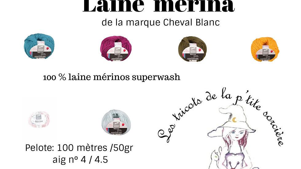 Pelotes Mérina (100% laine mérinos superwash)