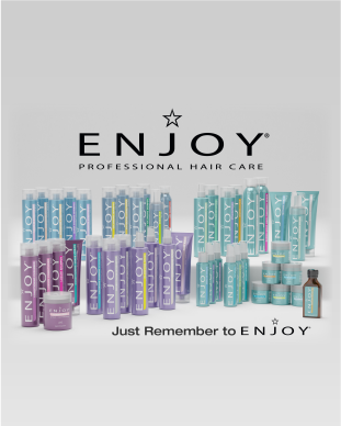 "Enjoy Professional Hair Care product line and tagline ""Just Remember to Enjoy"""
