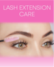 """Pretty eyes with eyelash extensions holidng a pink eyelash brush with text """"Lash Extension Care"""""""