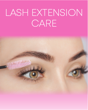 "Pretty eyes with eyelash extensions holidng a pink eyelash brush with text ""Lash Extension Care"""