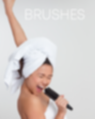 """Girl with towel on her head just out of the shower singing into a brush and text """"Brushes"""""""