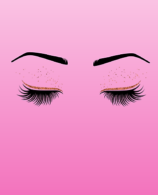 Renee Paxton, aesthetician & eyelash extension specialist digital drawing of eyelashes eyebrows and gold glitter
