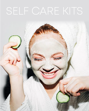 "Girl with towel on her head holding sliced cucumbers and text ""Self Care Kits"""