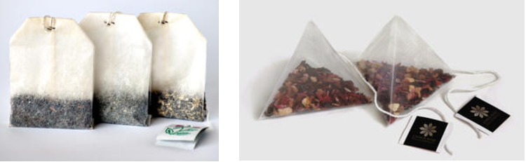 Left: tea bag made from abaca paper. Right: tea bag made from nylon