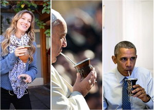 pope, Obama and Gisele Bundchen drinking mate, Miuxua