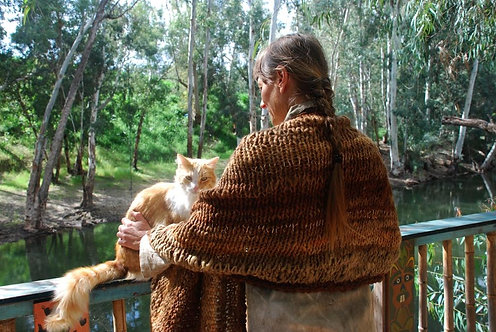 Specially long shawl, Hand-knitted from naturally dyed Hand-spun wool