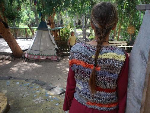 Hand-knit sleeveless light sweater,hand-spun naturally dyed wool.