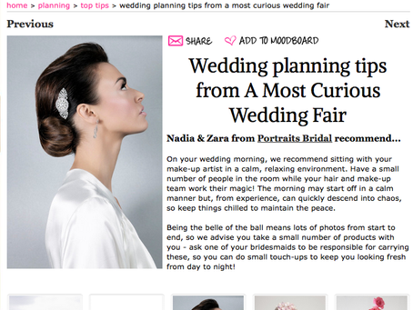 Have you seen tips for the bride, from Portraits, as featured in wedding online magazine?