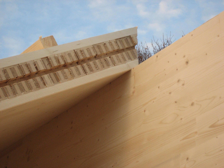 Querschnitt Vollholzwand Dach