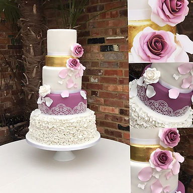 Ruffles and Gold Wedding Cake Surrey