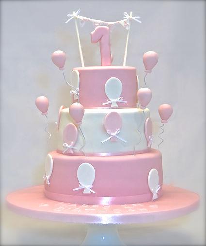 Balloon 1st Birthday Cake