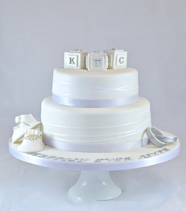 White and Silver Christening and Wedding Cake Sussex