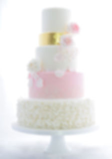 Ruffle Gold Wedding Cake Sussex