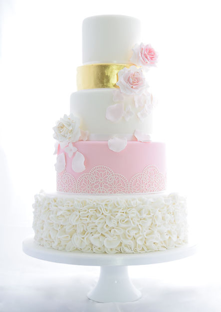 Ruffle Wedding Cake with Edible Lace & 23ct Edible Gold Leaf