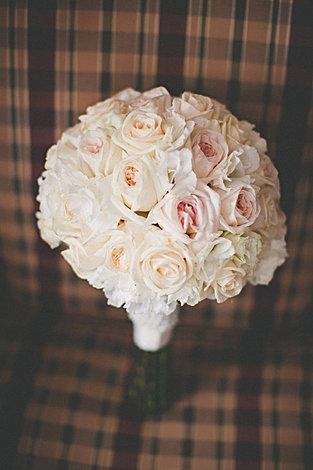 elegant blush and ivory garden rose bouquet
