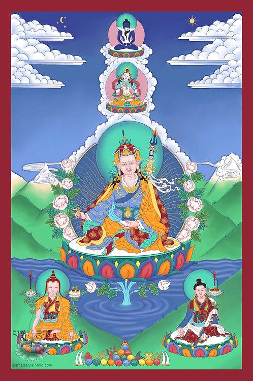 Guru Rinpoche with Lineage Lamas