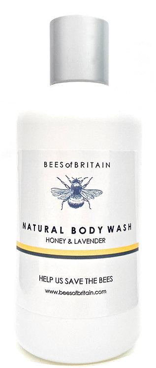 NATURAL BODY WASH - ALOE VERA, HONEY & LAVENDER - 250ml