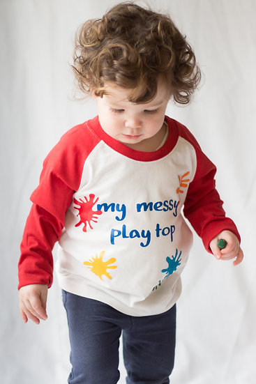 'My messy play top' pre schoolers long sleeved cotton base ball top