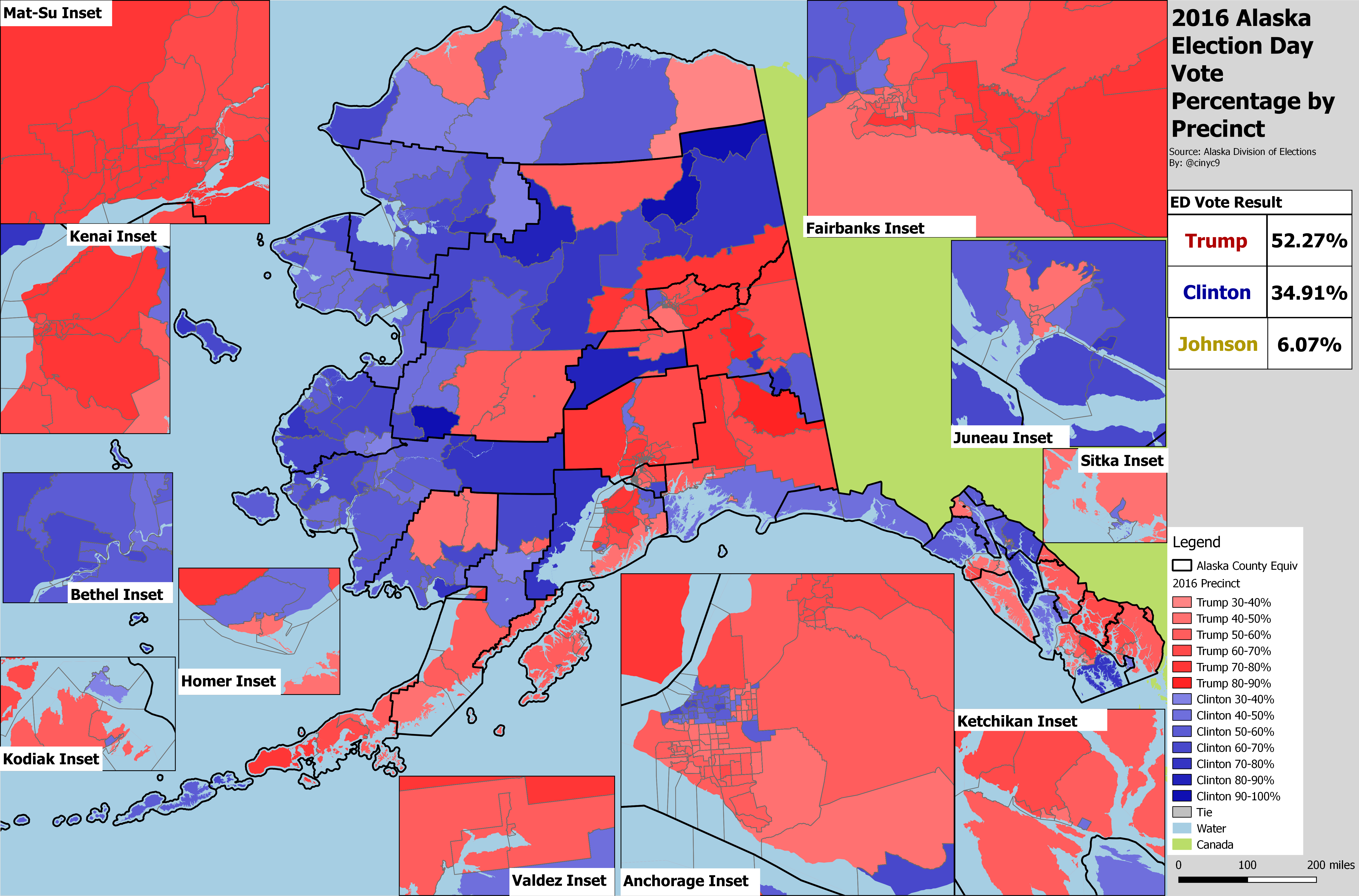 Image of: Alaska Results By County Equivalent 1960 2016 Rrh Elections