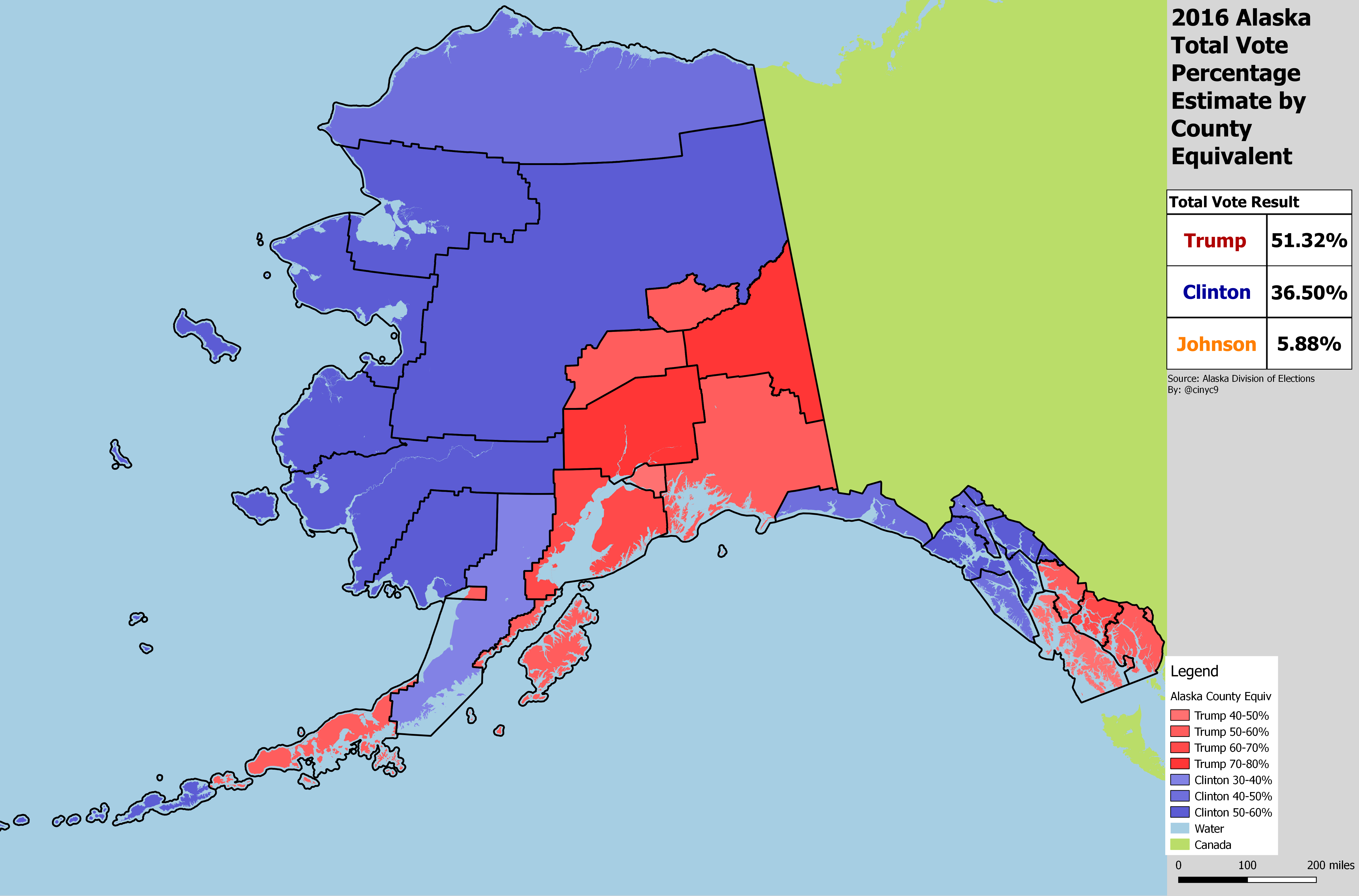 Alaska Pres Results by County Equiv