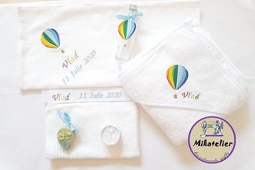 Trusou botez personalizat  Balon cu aer cald-curcubeu