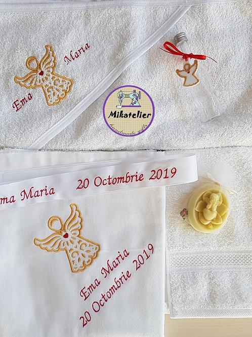 Trusou botez personalizat ingeras cu auriu si rosu