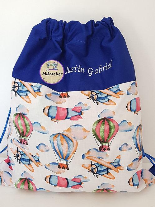 Rucsac cresa/gradinita avioane colorate si baloane cu aer cald