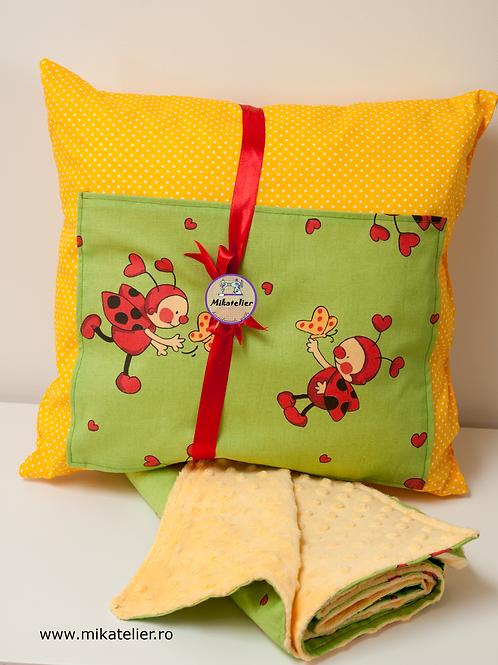 Set Ladybug (paturica si pernuta cu buzunar special pentru carte)