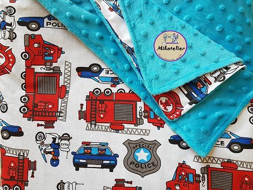 Paturica copii- masini de politie si pompieri