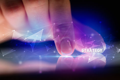 Finger touching tablet with STRATEGY ins