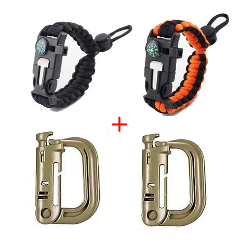 Roaring Fire 2 Pack Grimloc D-Ring Bundle W/ 2 Adjustable Paracord