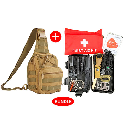 Roaring Fire 26 in 1 Survival tool kits and First aid kit Bundle with Sling pack