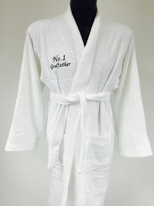 White Personalised Towel Robe