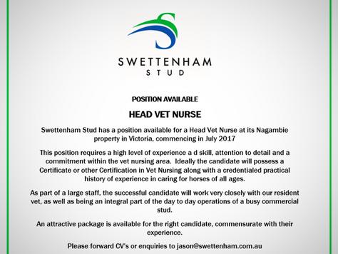 Position Available - Vet Nurse