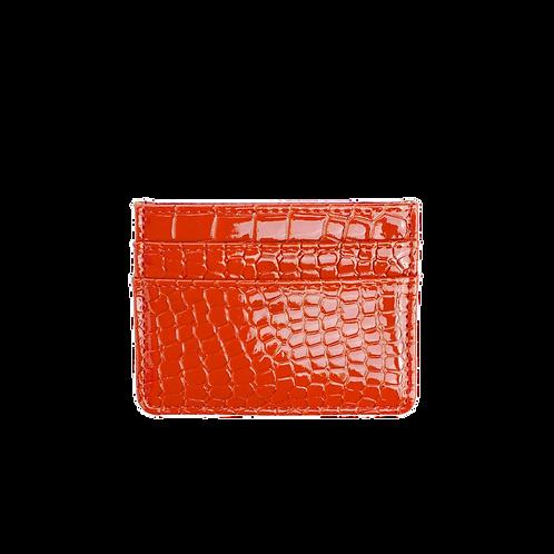 HVISK CARD HOLDER CROCO ORANGE/RED