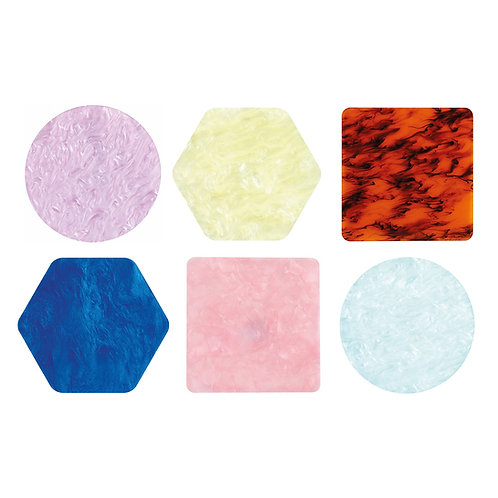 &K COASTERS PASTEL SET OF 6