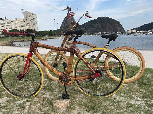 Construção de bicicletas de bambu em Queimados, RJ, curso completo de 9 dias.