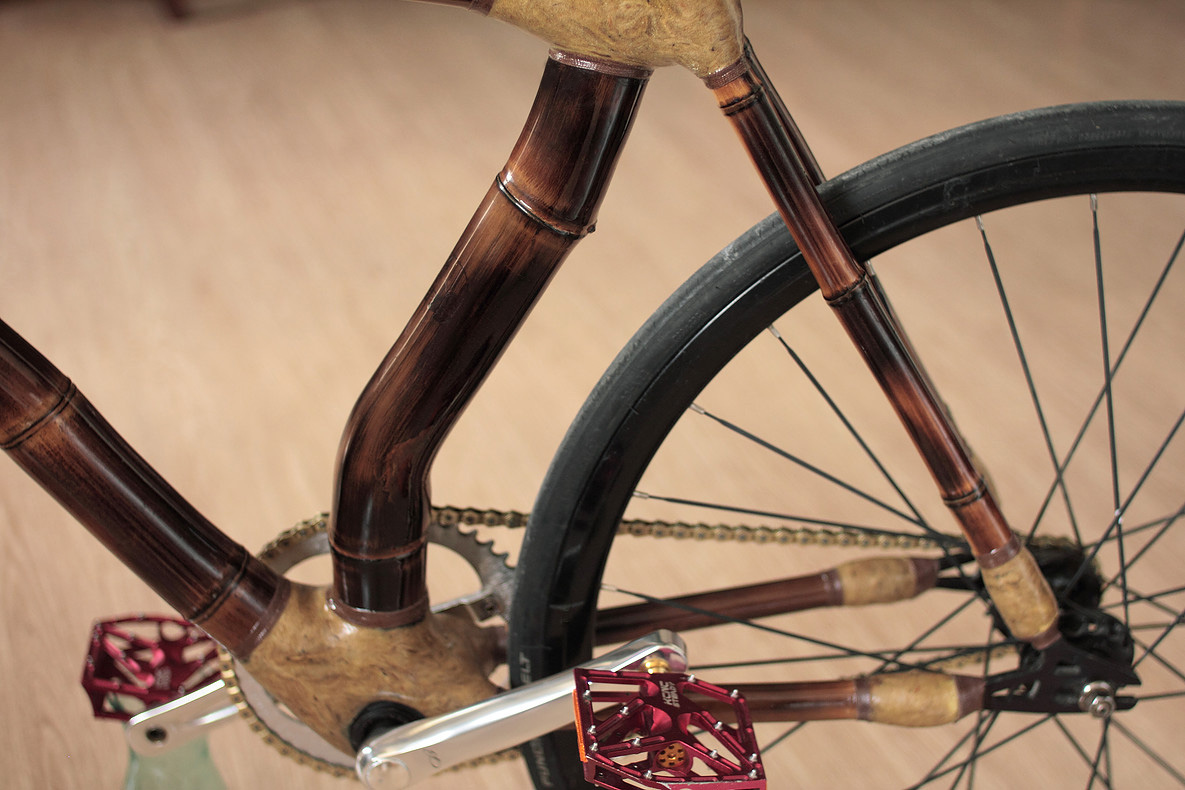 bicicleta fixa de bambu, personalizada, Fixed gear bamboo bike, hand made by ArtBikeBamboo