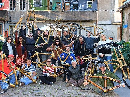 Curso 4 a 12 de janeiro 2020, construção de bicicletas de bambu.