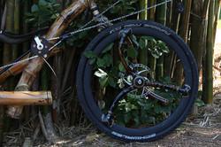Bamboo spokes on a recumbent bamboo bike, hand made by ArtBikeBamboo bambu