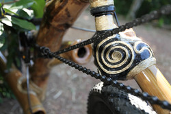 one side fork of a recumbent bamboo bike handcrafted by ArtBikeBamboo
