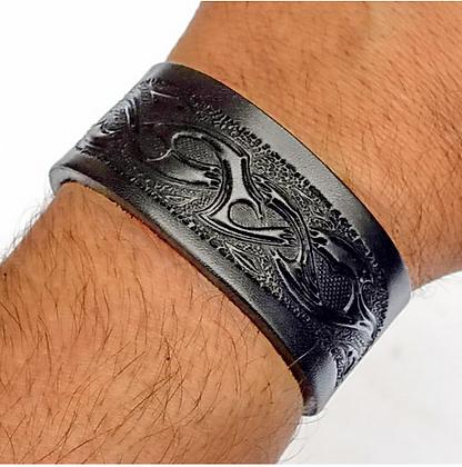 Leather Wristband - Tribal Design