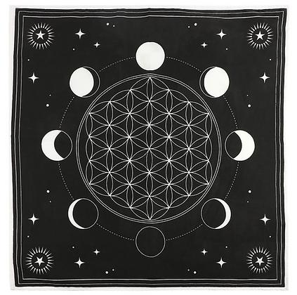 Moon Phase Crystal Grid Altar Cloth