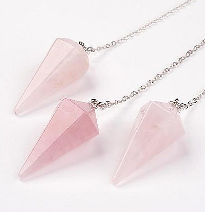 Faceted Rose Quartz Crystal Pendulum
