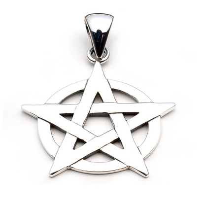 Silver Pentagram Circle Necklace