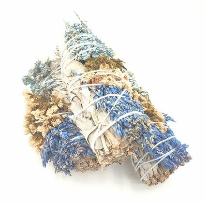 White Sage, Sea Lavender & Sorghum Smudge Stick